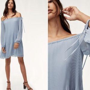 Wilfred🌸 Light Blue Raison Pleated Chiffon Dress